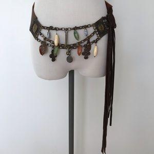 Retired Bebe designers leather jewel fringe belt